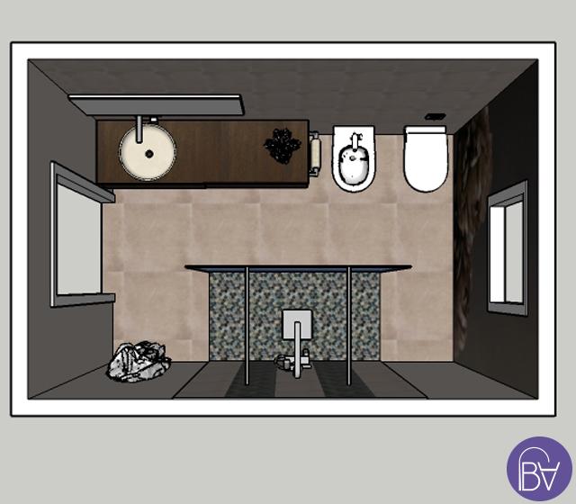 Bagno completo in stile elegante - Pianta bagno ...