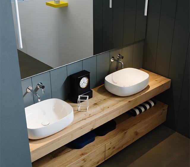 Arredo bagno legno grezzo rovere antico l 170 cm - Mobile bagno doppio lavello ...