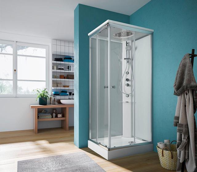 Cabina doccia multifunzione archimede steam 90x70 cm for Cabina doccia eklis montaggio