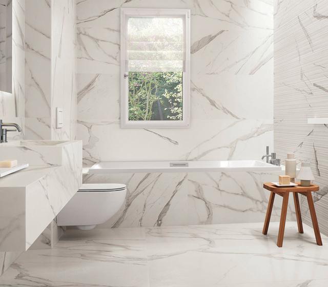 Piastrella effetto marmo bianco statuario fap ceramiche for Piastrelle finto marmo