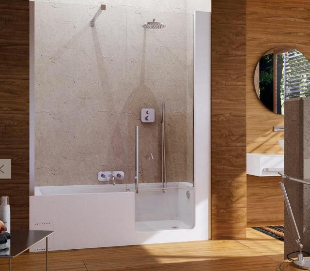 Vasca doccia con sportello elle door 160x70 cm for Vasca e doccia combinate