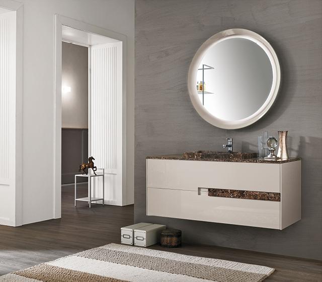 Arredo bagno doppio lavabo emperador light l 212 x h 50 x p 50 cm - Arredo bagno marmo ...