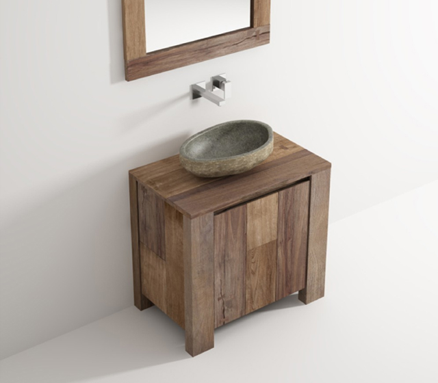 Arredo bagno legno massello l 80 x h 75 x p 50 cm completo - Mobile bagno legno grezzo ...
