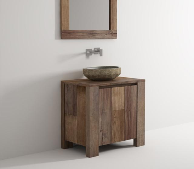 Arredo bagno legno massello l 80 x h 75 x p 50 cm completo di specchio - Arredo bagno legno massello ...