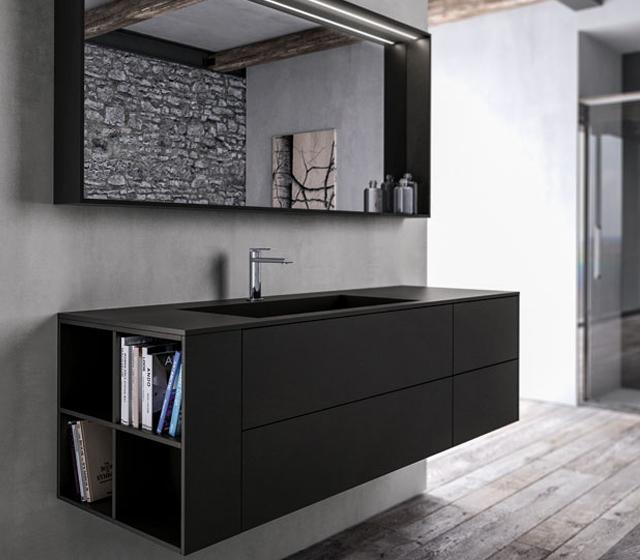 Arredo bagno fenix nero l152 4xp50 cm for Mobile bagno minimal
