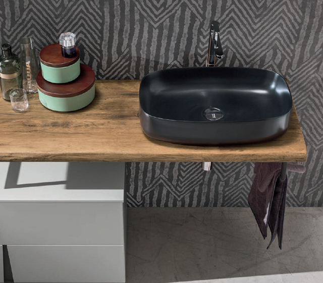 Arredo bagni con piano in legno quercia antico L210x50,5 cm