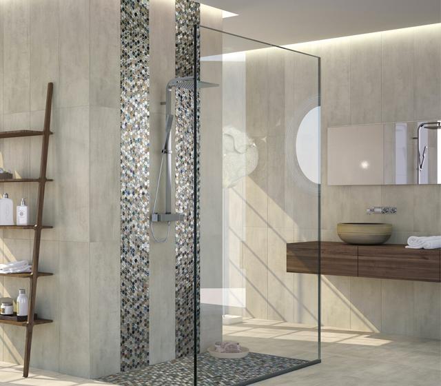 Mosaico bagno vetro e pietra esagono - Piastrelle in mosaico per bagno ...