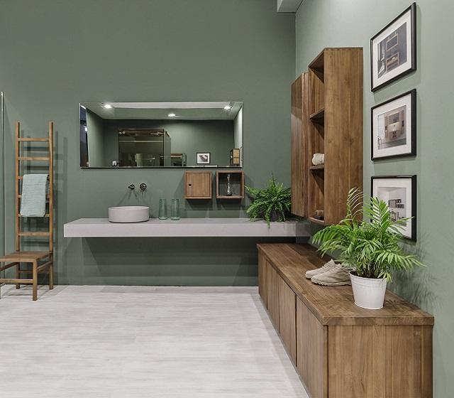 Arredo bagno su misura essenziale tecnoril l 180 x h 15 x p 53 cm completo di lavabo in coordinato - Arredo bagno grigio ...