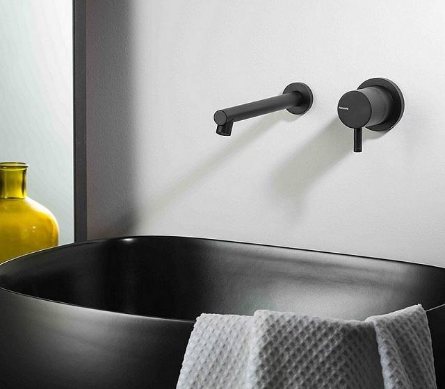 Miscelatore design nero opaco ad incasso stile industriale per lavabo - Rubinetteria bagno nera ...