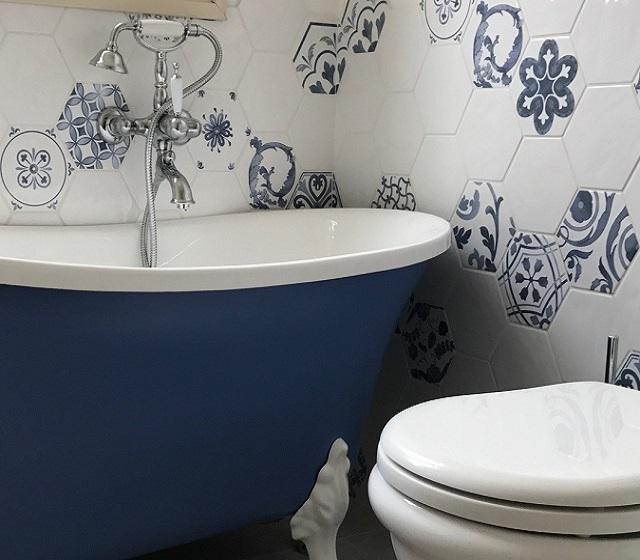 Rivestimento Exabright Colore Blu E Bianco Bagni D Autore