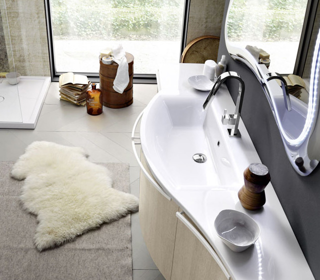 Mobili bagno curvi : Mobile bagno curvo Rovere Tranchè naturale