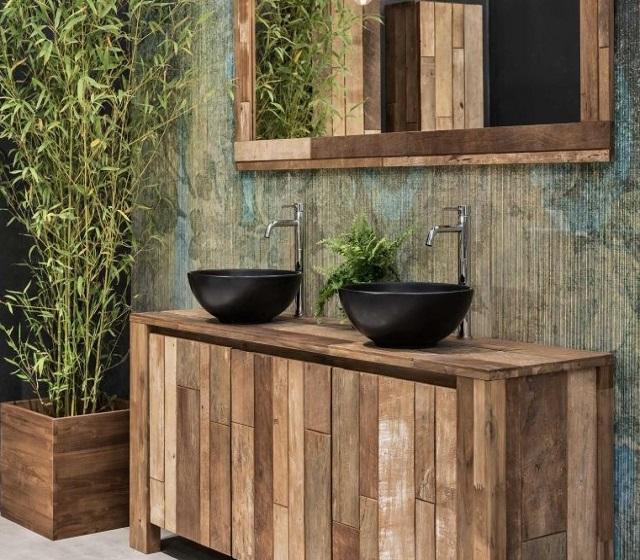 Arredo bagno legno massello l 80 x h 75 x p 50 cm completo di specchio - Accessori per bagno in legno ...