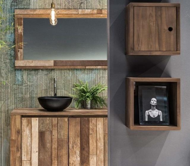 Arredo bagno legno massello l 80 x h 75 x p 50 cm completo di specchio - Mobile bagno rustico ...