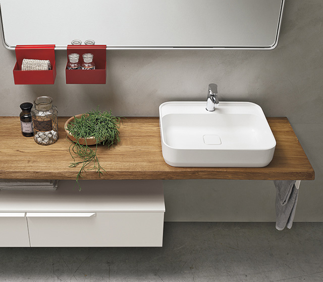 Top lavabo massello in quercia antica 100. L100H4P36cm