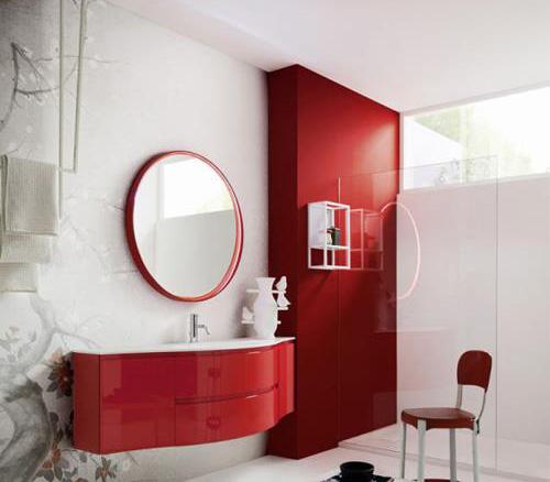 Mobili bagno curvi : Mobile bagno curvo Laccato rosso lucido