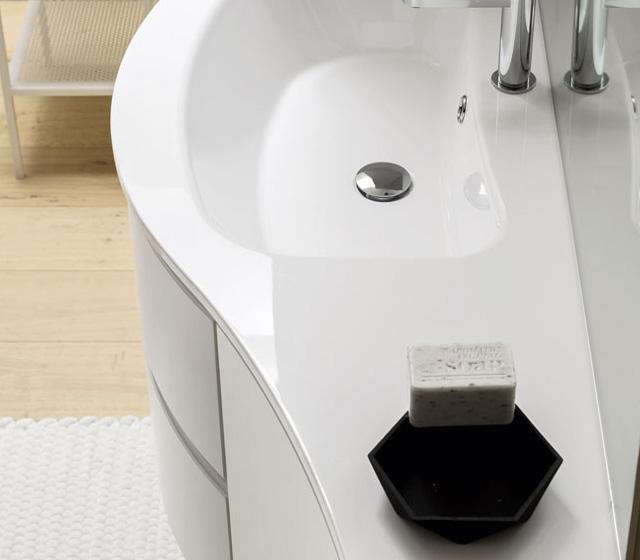 Mobile bagno curvo Laccato bianco opaco